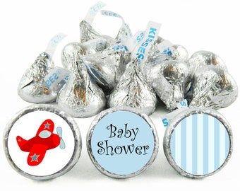 Set of 108 - Airplane Boy Baby Shower Stickers for Hershey's Kisses. Airplane Baby Shower Favors - Plane Kiss Stickers - #IDBBS603