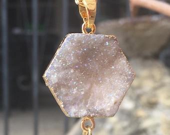 Double Druzy Necklace, Crescent Moon Druzy Necklace, Gold Hexagon Necklace, Druzy Hexagon Necklace, Natural Druzy Agate Titanium Necklace,