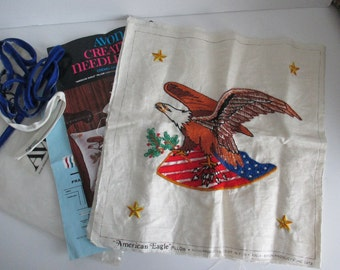 Completed Crewel embroidery Kit, Vintage American eagle 1973 Avon