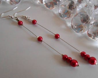 Wedding earrings deep red pearl beads