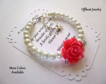 Pearl Flower Girl Bracelet, Flower Girl Jewelry, Flower Girl Gift, Glitter Rose Bracelet, Childrens Jewelry, Little Girl Bracelet