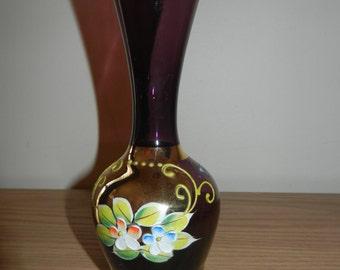 Vintage Burgundy Glass Vase - Hand Painted Flowers