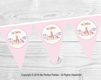Pink Peter Rabbit Birthday Party Bunting, Banner. - 3 METERS