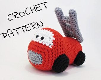 Amigurumi fire truck stuffed toy crochet pattern pdf tutorial US English