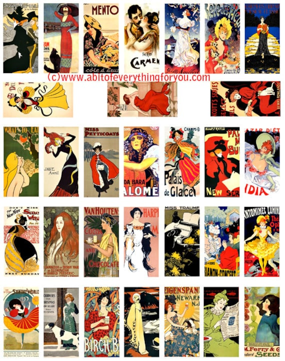 "vintage french deco advertisements domino clipart domino collage sheet 1"" x 2"" inch images digital download domino graphics printables"