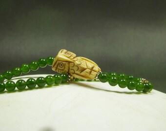 Owl Bracelet/ Carved Vintage Bone Owl/ Natural Green jade with Owl Bracelet/ Lucky Owl Bracelet