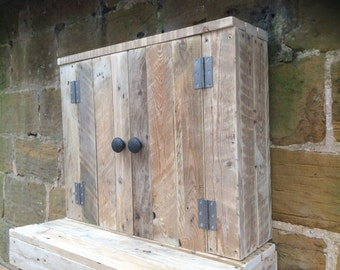 Rustic Wall Mounted Bathroom Cabinet made from reclaimed pallet wood