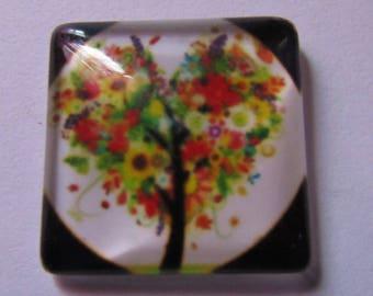 1cabochon theme tree 20 mm * 20 mm square glass