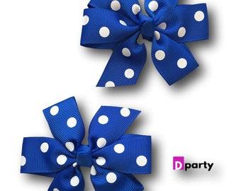 Royal Blue Poka Dot Pigtail Hair Bows Set of 2