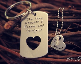 Hand Stamped Father Daughter Key Chain Necklace Set The Love Between a Father & Daughter is Forever Father's Day