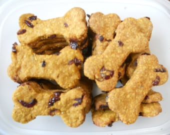 8 oz Pumpkin Peanut Butter with Dried Cranberries Treat-All Natural Dog Treat Homemade Dog Biscuit Great Gift For Dog Lover