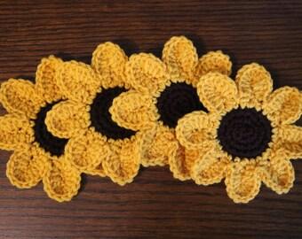 Sunflower Coasters, Crochet Sunflowers, Drink Holders, Summer Coasters, Flower Coasters, Sunflower Kitchen, Fall Coasters, Floral Decor