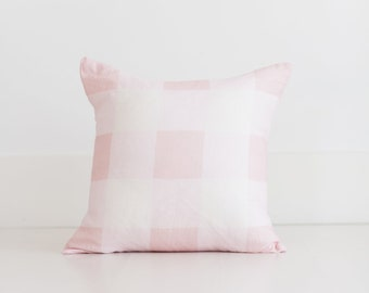 Pink Buffalo Check Throw Pillow by Whitney English, 100% Linen Pink and White Gingham Home Pillow