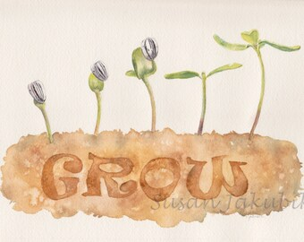 Sunflower Plants Original Watercolor, Garden Watercolor, Grow Watercolor