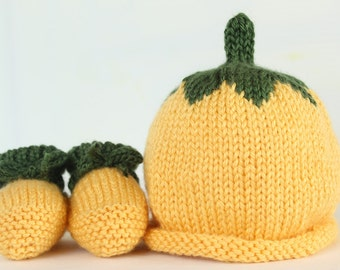Banana - Baby Hat only, or Hat and Booties Set