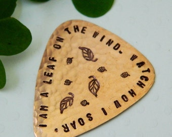 I Am A Leaf On The Wind, Copper Guitar Pick, Serenity, Firefly, Handmade Plectrum, Hoban Washburne, Browncoat, Fandom, Whedon, Musician Gift