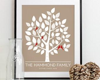 Housewarming Gift, Personalized Bridal Shower Gift for Wedding Gift, Wedding Art Print Custom Family Tree Art