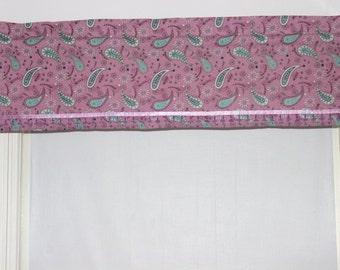 Set of Two Cotton Paisley Print Valances With Floral Bead Trim