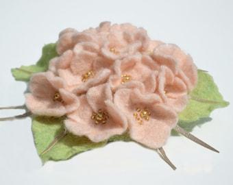 Felt Flower Brooch Pin, Apple Blossom Brooch, Wool Felt Flower Pin, Ready to ship.