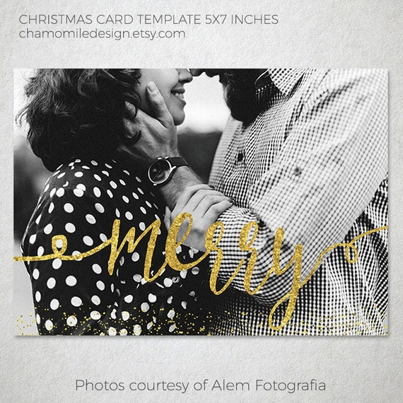 Foil Christmas Cards Merry Faux Gold Foil 5 X 7 Holiday