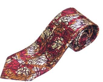 70s Wide Tie Wide Abstract Tie Cream Rust Tie 1970s Vintage Neckwear Graphic Print Tie Sterling Cravat Abstract Print Tie Wide Necktie