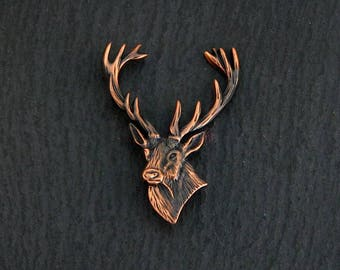 Stags head handmade brooch, copper