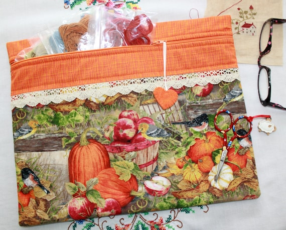 Fall in the Country Cross Stitch, Sewing, Embroidery Project Bag