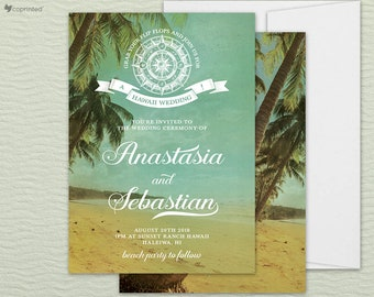 Beach Wedding Invitation, Tropical Wedding Invitation, Tropical Invitation Set, Beach Invitation Set, Travel Theme Invitation, Palm Tree