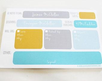 Large Color Block School Pad - 4 COLORS - #BacktoSchool Personalized Pad