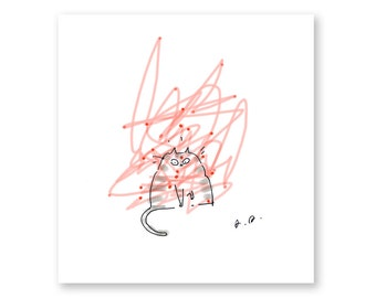 Cat Art - Laser Cat Print- Funny Cat Artwork