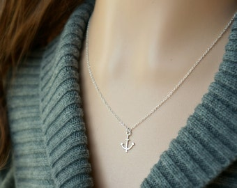 Sterling Silver Anchor Necklace / Small Simple Anchor Pendant on a Sterling Silver Chain