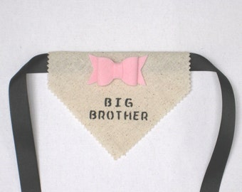 Big Brother Dog Bandana – Baby Announcement, Mother-to-Be, Pregnancy Announcement, Baby Shower Invitation, Burlap Alternative Bandana