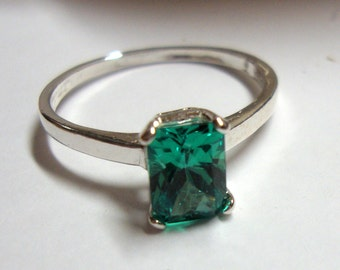 Ring Yttrium aluminium garnet Emerald cut green YAG in reclaimed recycled .925 sterling silver - Custom made in your size Eco Friendly -MAY