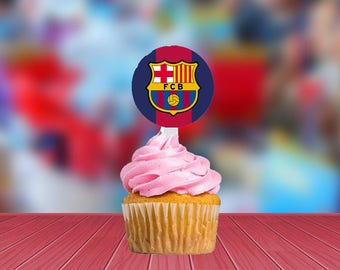 FC Barcelona Cupcake Toppers | Cute Toppers for Birthdays | 12 Pack