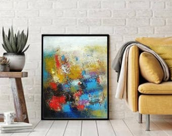 "Turquoise and red abstract painting oil on canvas original small artwork hand drawings red blue bold colors modern work of art 16""x20"""