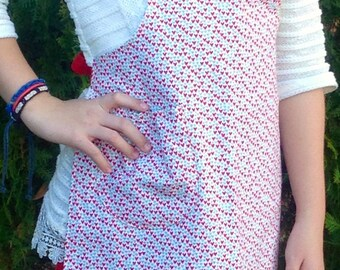 Girl Apron, Reverible Apron, Turquoise and Red Hearts