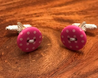 Pink Polka Dot Button Cufflinks