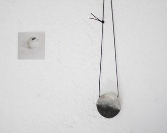 Stardust pendant - smoke fired ceramic bead necklace