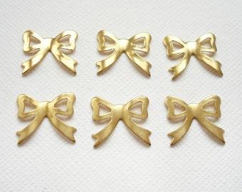 6 Raw Brass Bow Charms