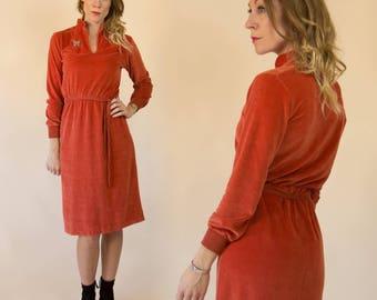 Vintage 1970s Rusted Orange Velour, Knit Midi Dress
