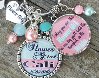 PERSONALIZED Flowergirl Gift, Personalized Flower Girl Gift, Girl Wedding Gift, Necklace, Wedding Flower Girl Necklace, Flower Girl