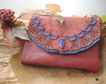 Leather-Notebook A5 Red and Blue, Lapislazuli, Diary, Travel Book, Sketchbook