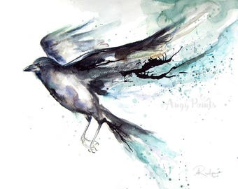 Raven Watercolor Art, Raven Art, Raven Artwork, Raven Painting, Watercolor Raven, Raven Art Print, Bird Painting, Bird Prints