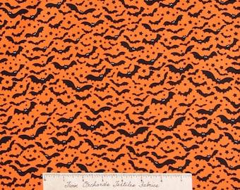 Halloween Fabric - Black Bats Orange C1342 - Timeless Treasures Cotton YARD