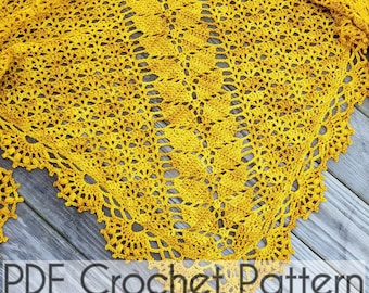 CROCHET SHAWL PATTERN Wrap Leaf Shawl Pattern Instant Download Pdf Tutorial - Lady of Lórien -  Permission to Sell English Only