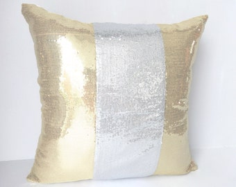 Gold and Silver Sequin decorative pillow-18 inch- one in stock