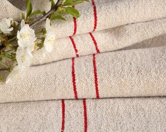 S 61: grain sack, READY MADE TABLERUNNER, ready handsewn, 2.6 yards long, vintage linen , fabric by the yard