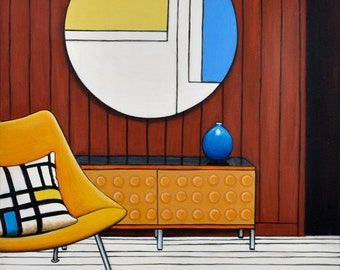 Midcentury Modern Art Print, Modern Room Print, 8 x 8, Mondrian Room, Blue and Yellow Art, Chair Wall Art, Yellow Chair Art, Interiors Art