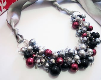 Chunky Red Pearl Necklace, Statement Necklace, Ribbon Necklace, Bridesmaid Gift, Cranberry Red Black Gray Cluster Necklace, Winter Wedding