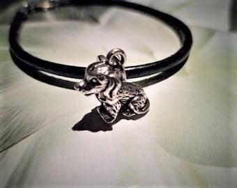 1 charm 26 mm large hole 5 mm for Bracelets European bail Support dog